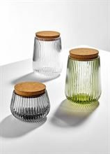 LADELLE ZEPHYR RIBBED GREEN GLASS 15CM CANISTER