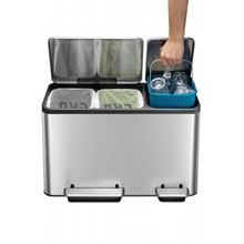 ECOCASA RECYCLING BIN BRUSHED STAINLESS STEEL