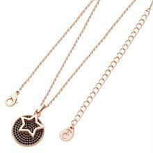 TIPPERARY STAR FLOATING ROSE GOLD BLACK PAVE DISC PENDANT
