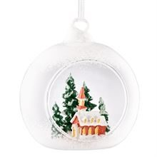 GALWAY CRYSTAL CHURCH SCENE HANGING BAUBLE ORNAMENT
